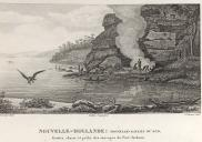 , This French engraving from the 1820s is probably based upon sketches made around 1801. The headland closely resembles Balls Head which was well-used by Cammeraygal people. The caption in French refers to caves with people hunting and fishing. National Library of Australia