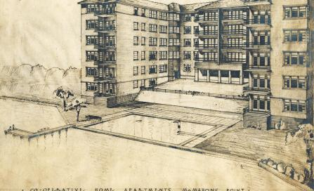 , Aaron Bolot's 1947 sketch of the building shows a misleadingly neat interface between the garden and the foreshore of Berrys Bay. A waterfront pool was eventually completed as part of the development. Stanton Library