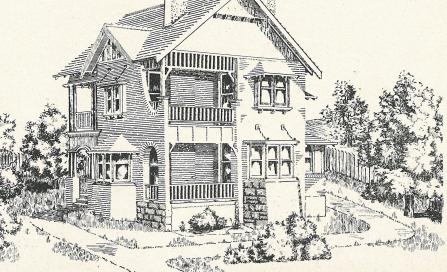 , 'Mr Pickering's Residence, Cremorne'. The journal <i>Building</i>  was one of the most influential publications for the discussion of architecture in the early 1900s. This design appeared in the June 1908 issue and typified the dominant English Revival aesthetic of the time. Stanton Library
