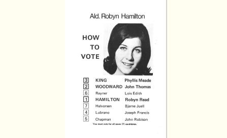 , Robyn Hamilton's election flyer for the 1971 Council election made a feature of her youthfulness. She represented a new community-minded spirit in Council. Stanton Library
